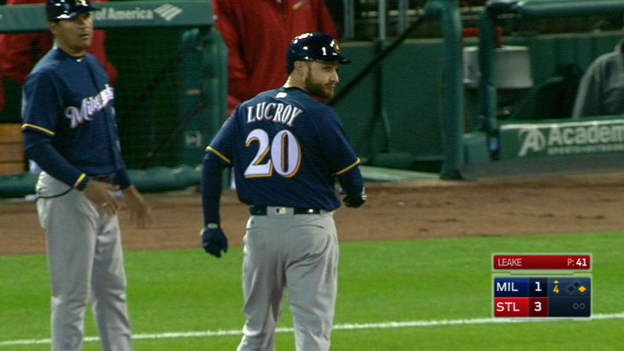 Lucroy's busy day at the plate
