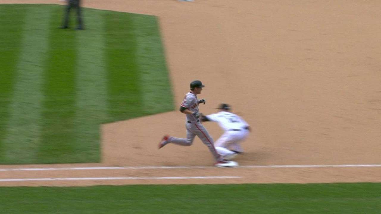Tomlinson collects infield hit
