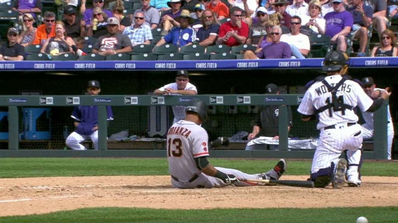 Adrianza stays in after foul tip