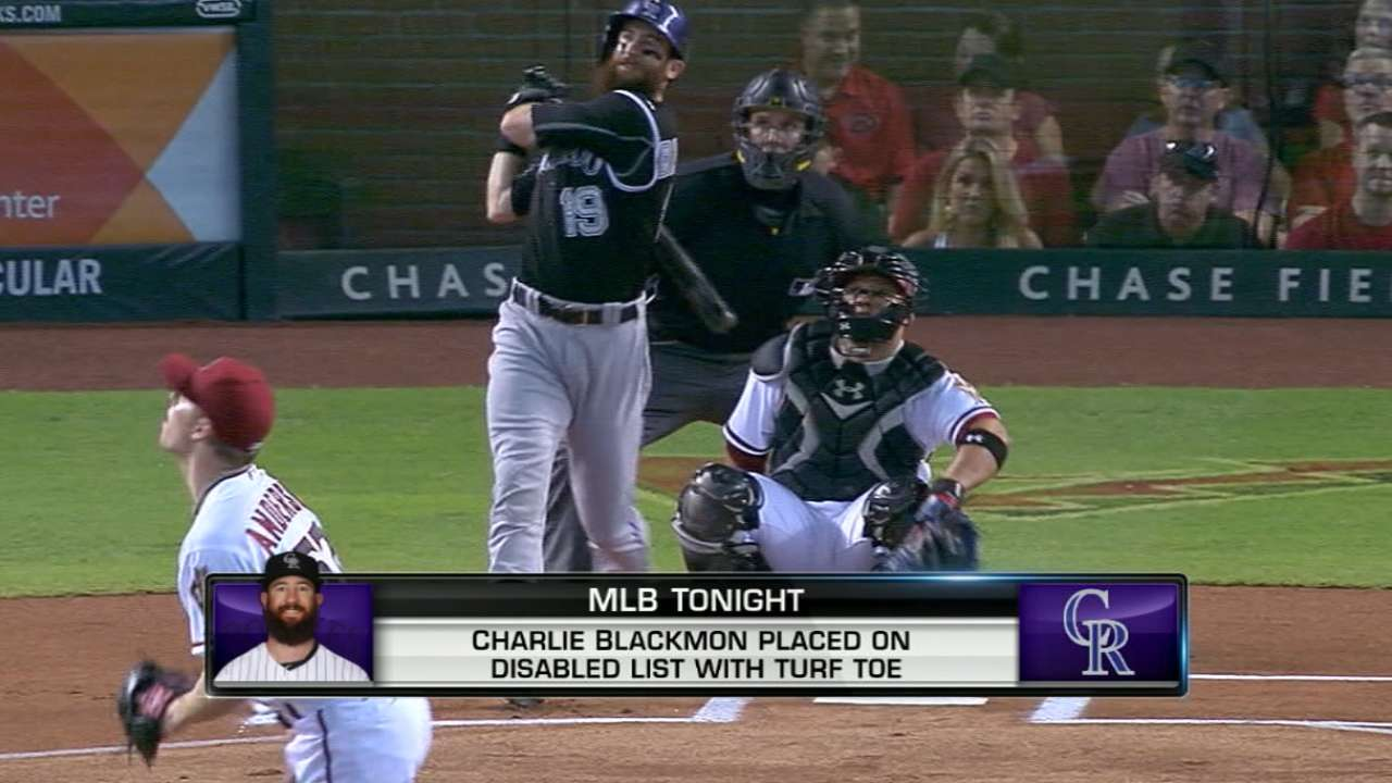 Blackmon lands on disabled list with turf toe