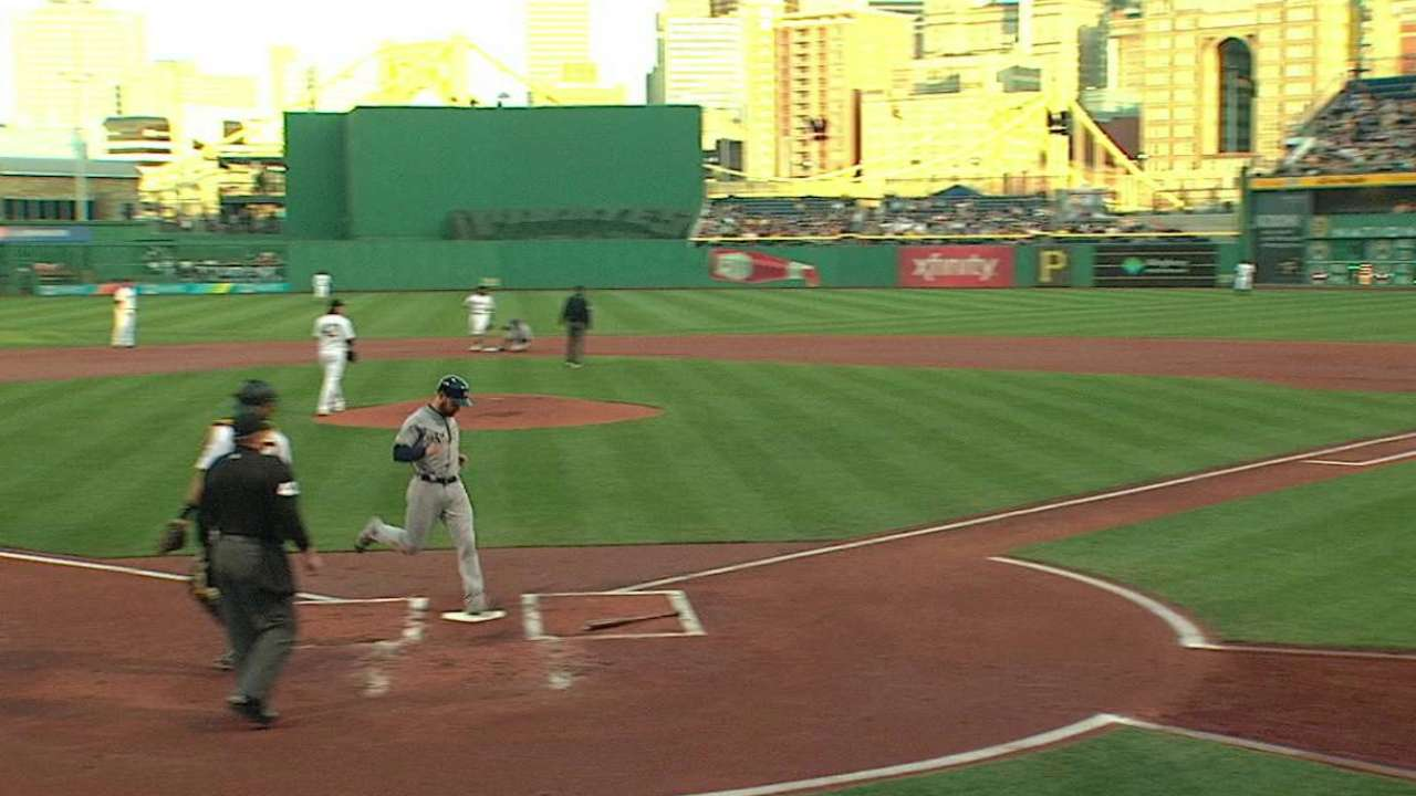 Lucroy scores on double play
