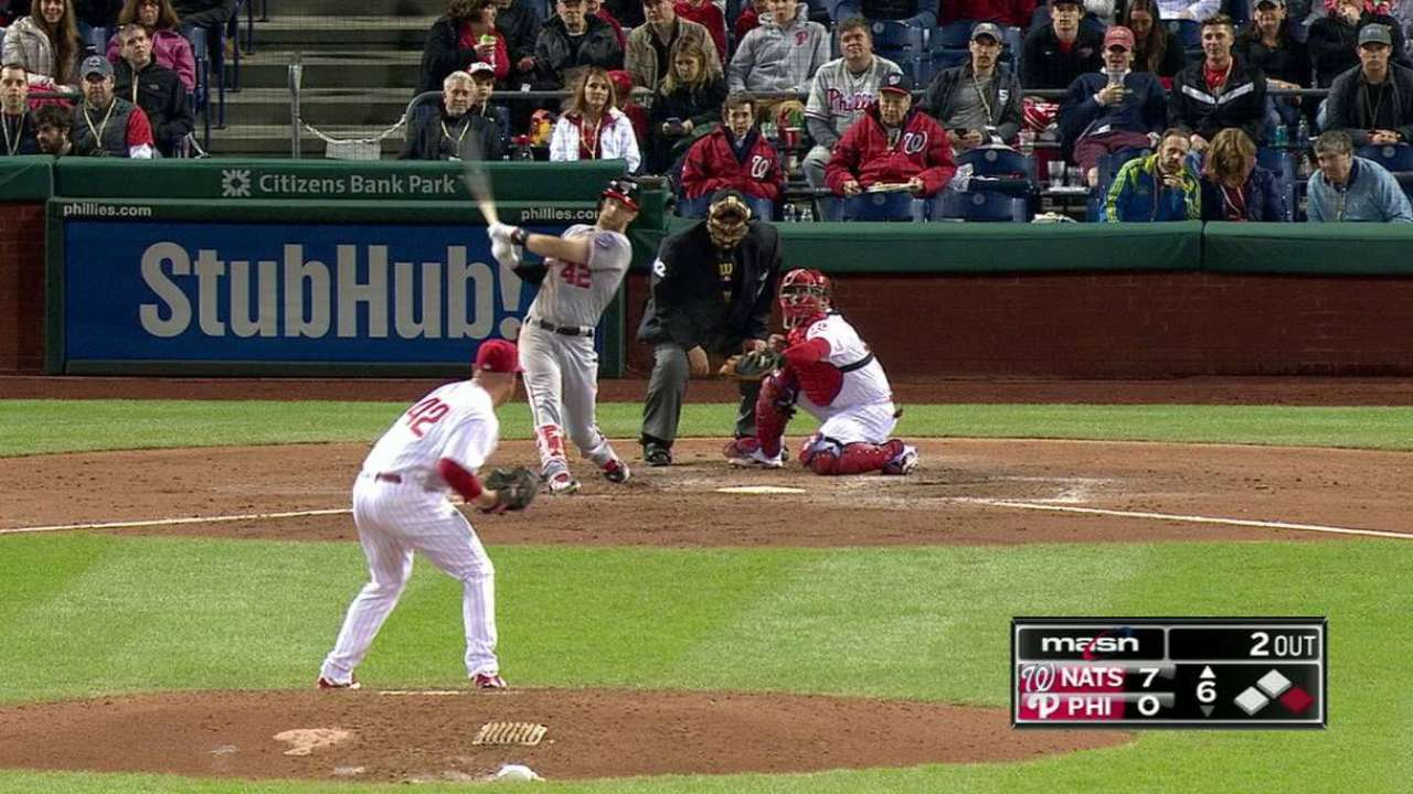 Five-run 1st backs Ross in Nats' rout of Phils
