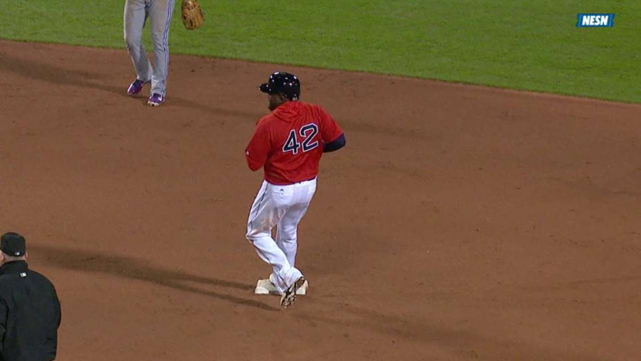 Ortiz steals second base
