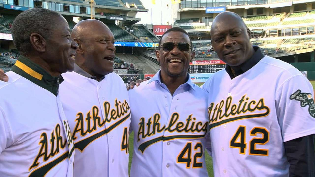 A's honor quintet on Jackie Robinson Day