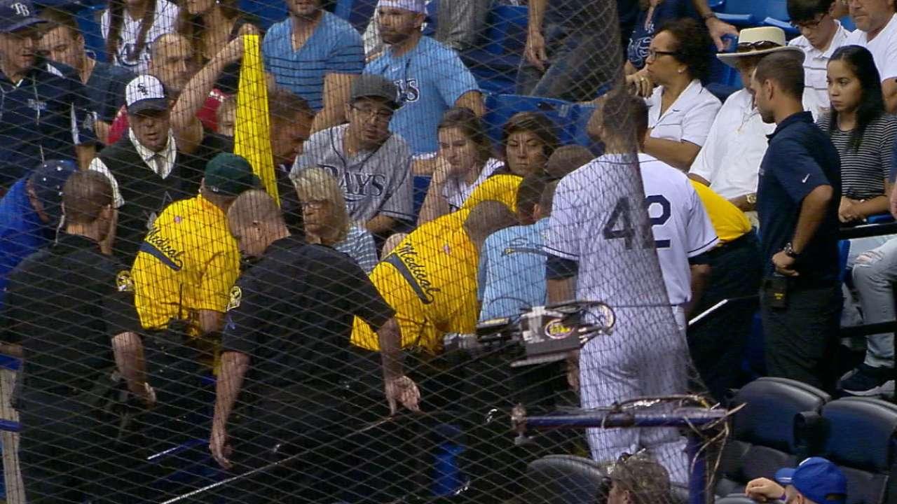 Fan injured by Souza's foul ball