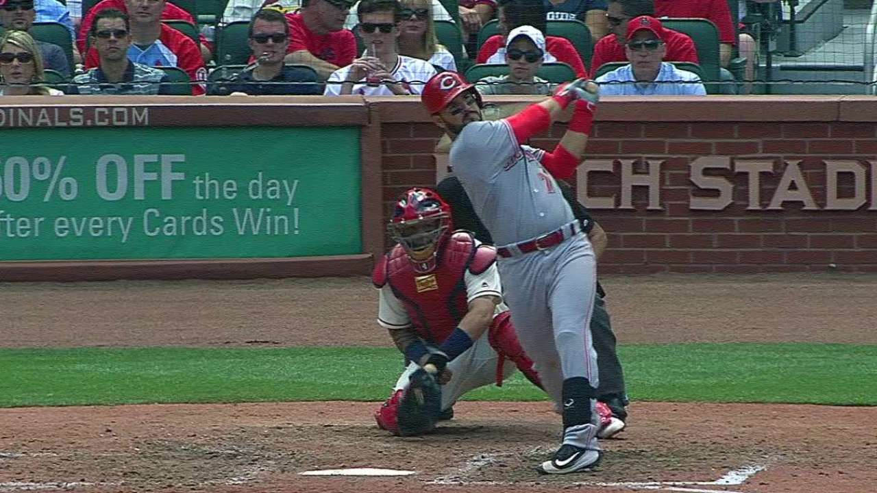 9 doubles lead Reds over Wainwright, Cards