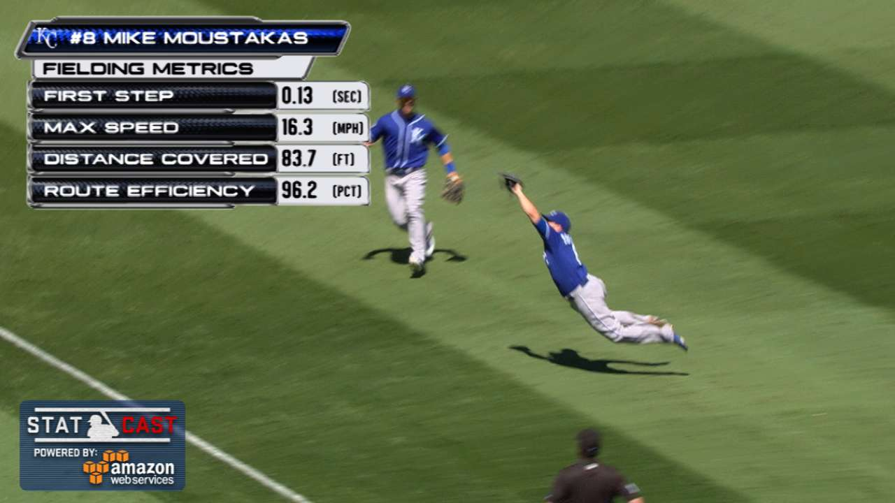 Moose lays out for amazing catch against A's