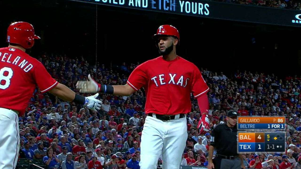 Beltre's RBI forceout