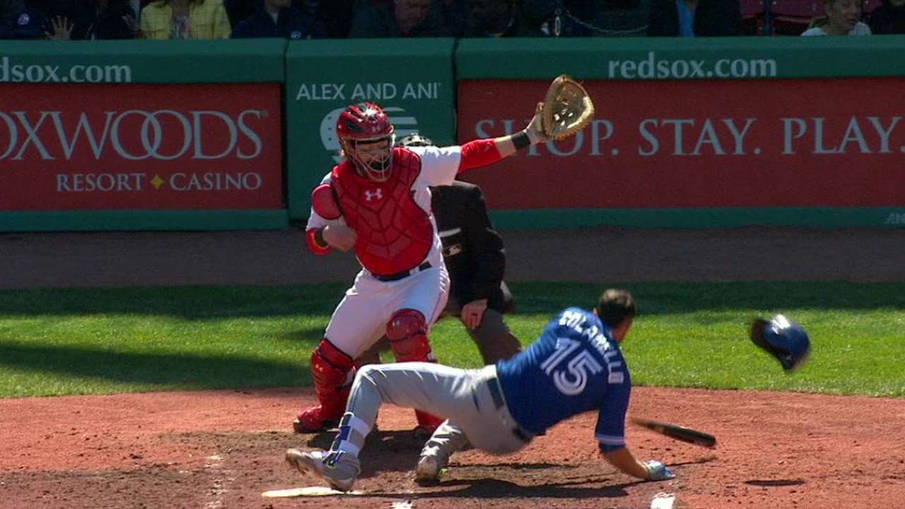 Colabello gets hit in the helmet