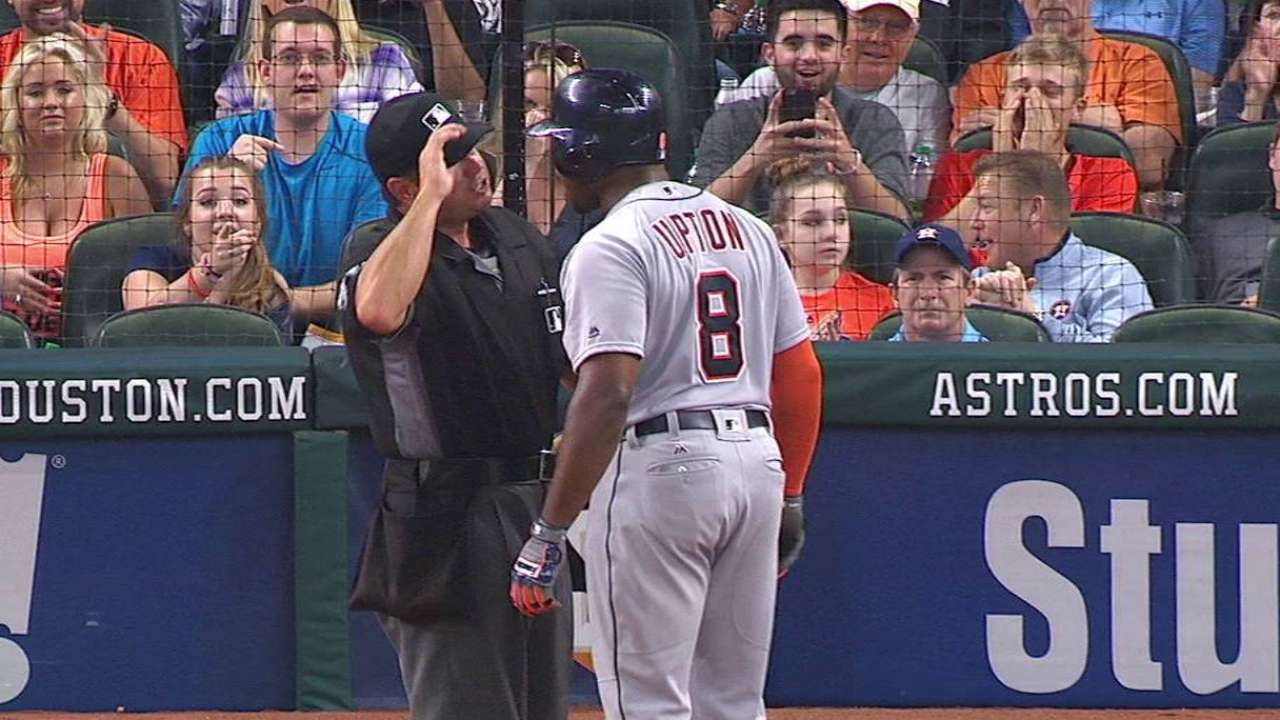 Upton ejected after striking out