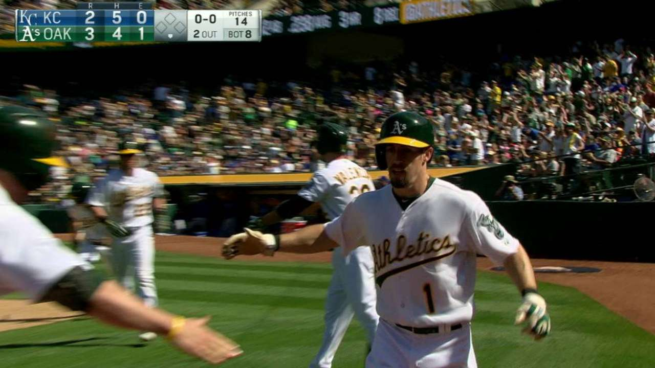 A's make most of chances in comeback over Royals
