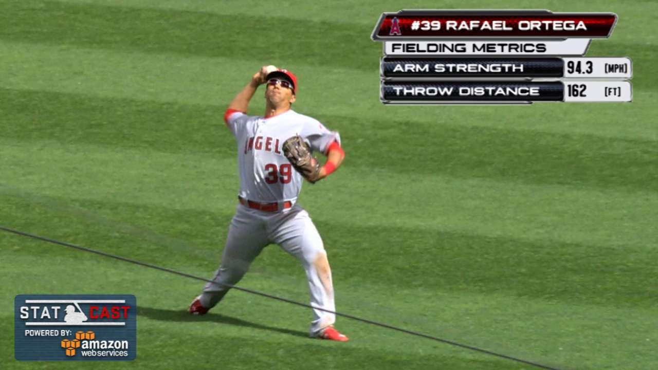 Ortega gives Angels 'plus, plus, plus' arm in left
