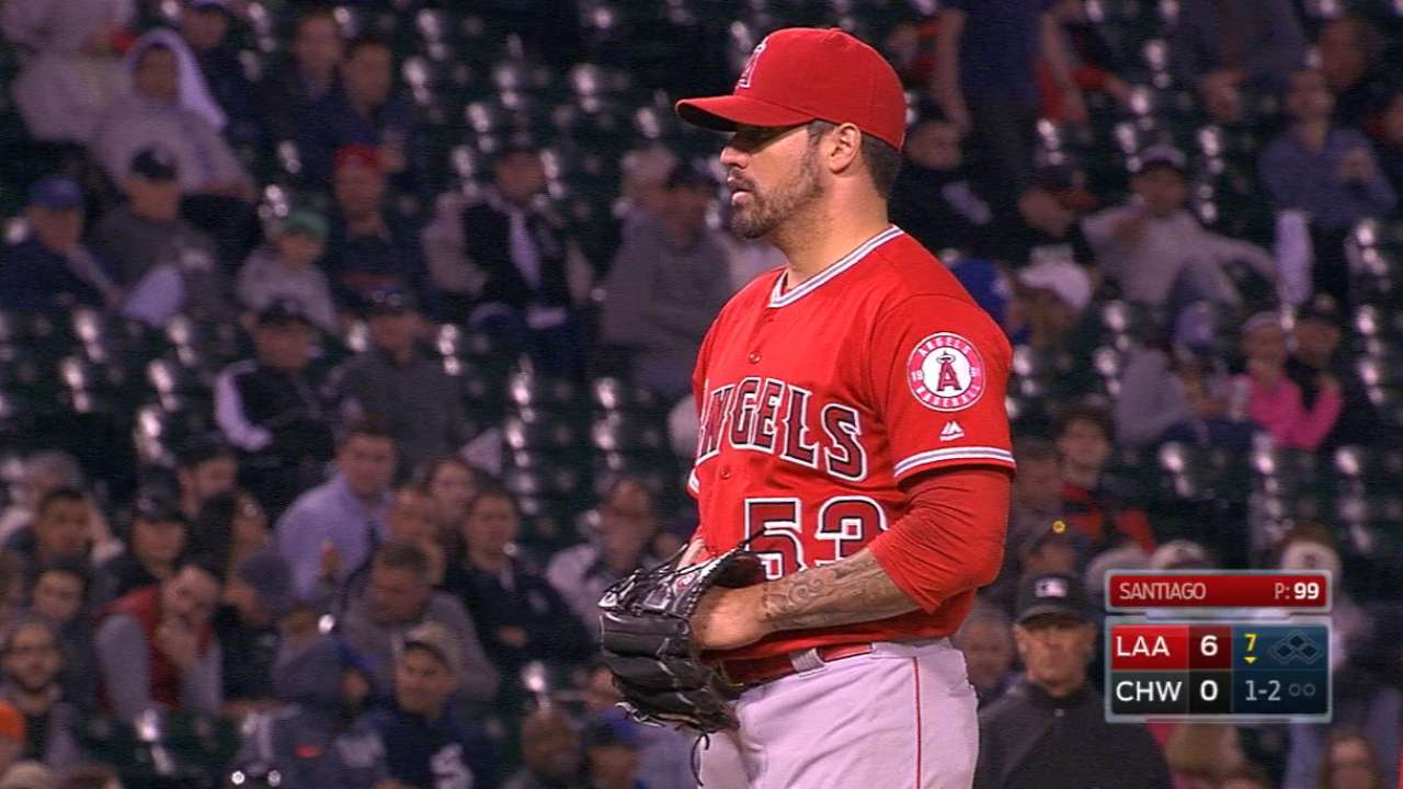 Santiago K's 10 as Angels blank White Sox