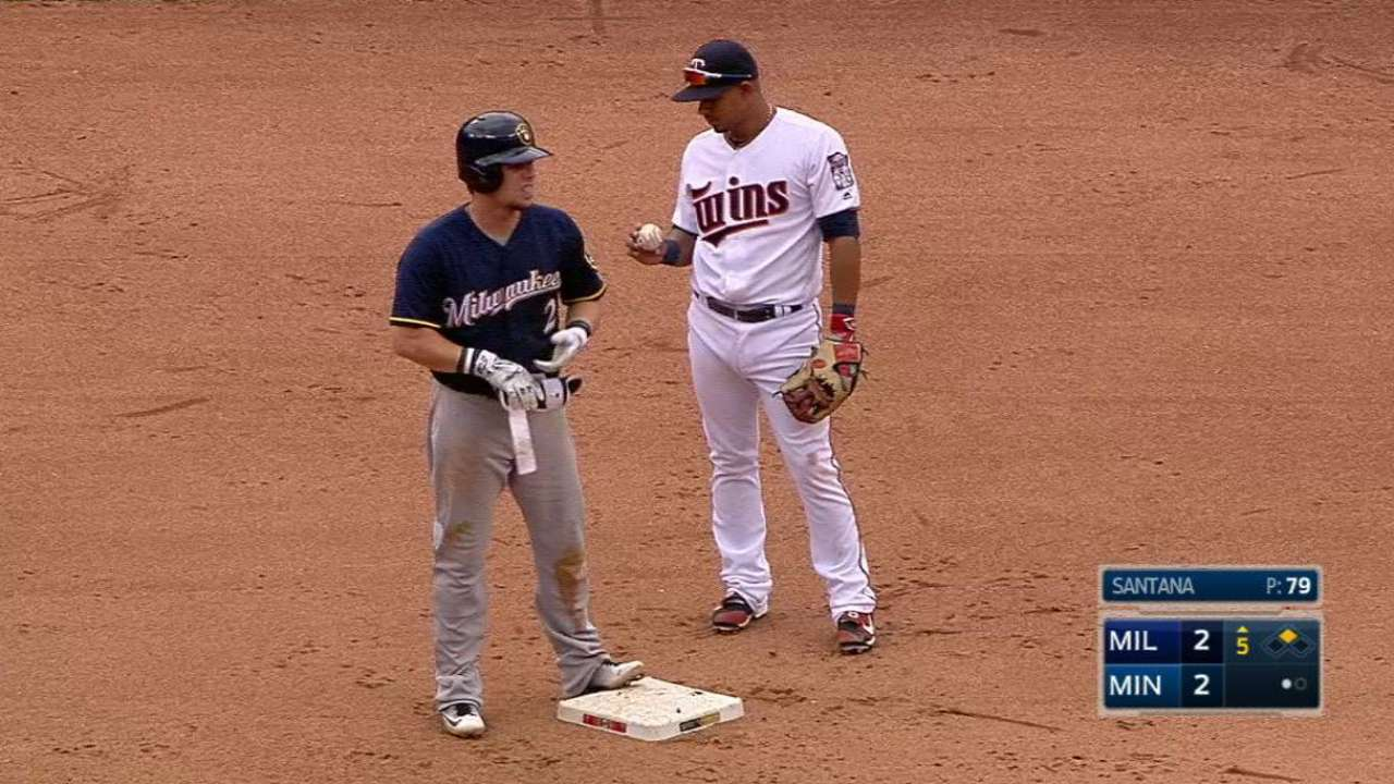 Gennett reaches on Sano's error