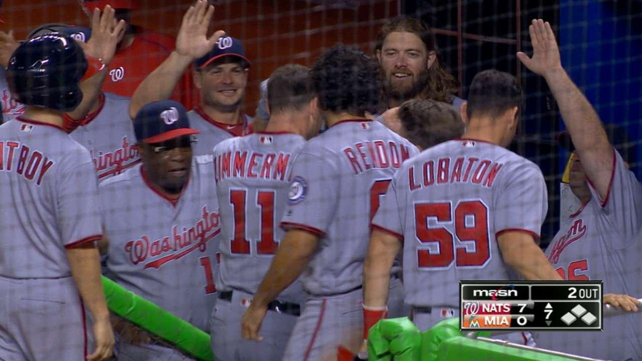 Nats four-homer, seven-run frame