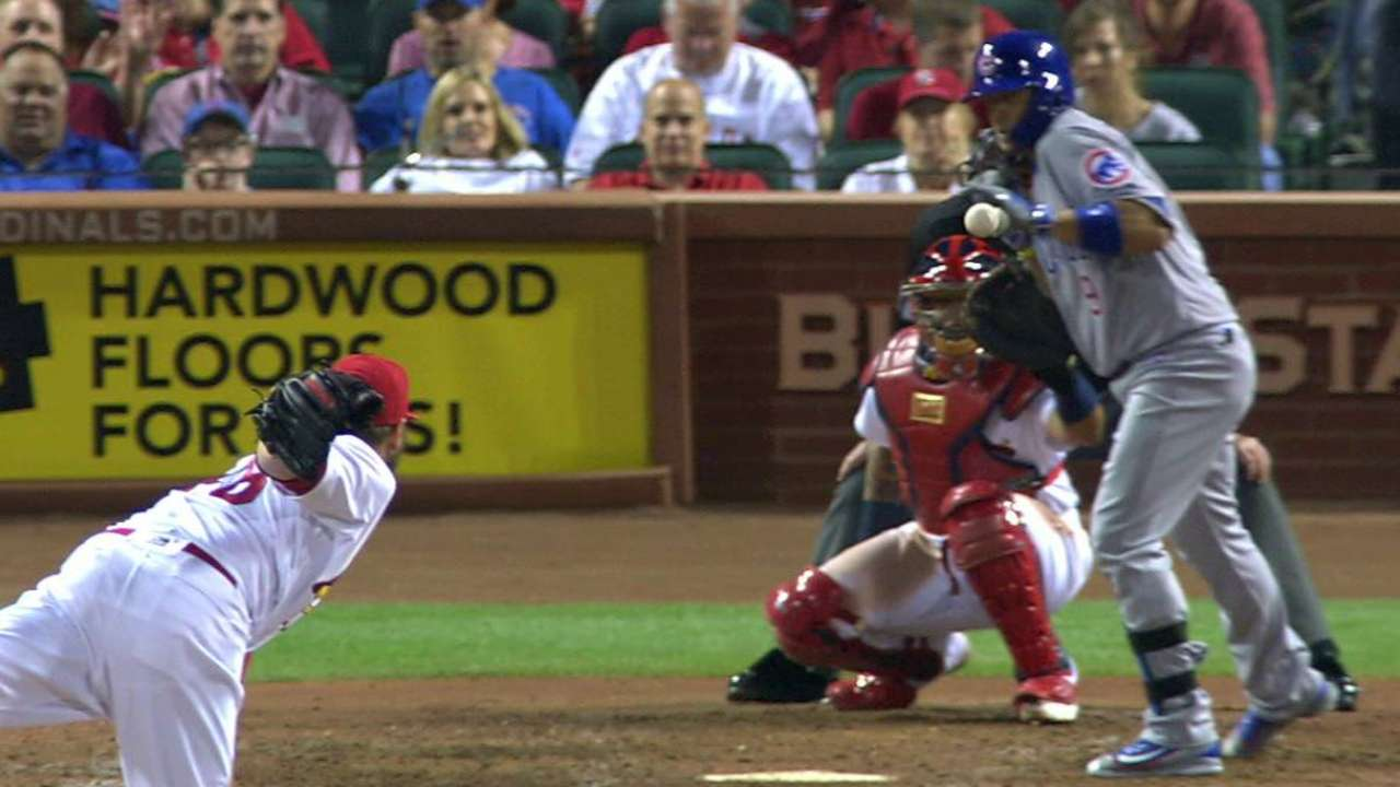 Baez fouls off ball after review