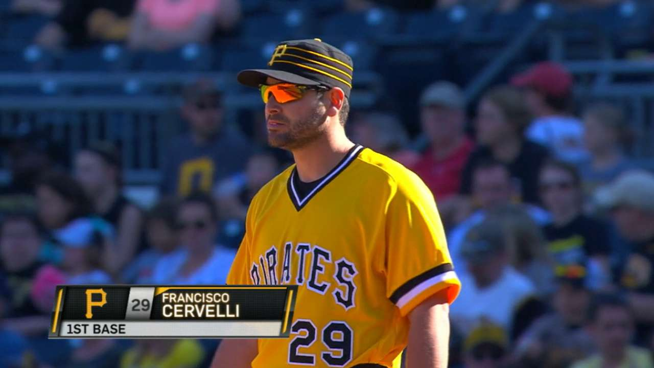 Cervelli showcases versatility at first base