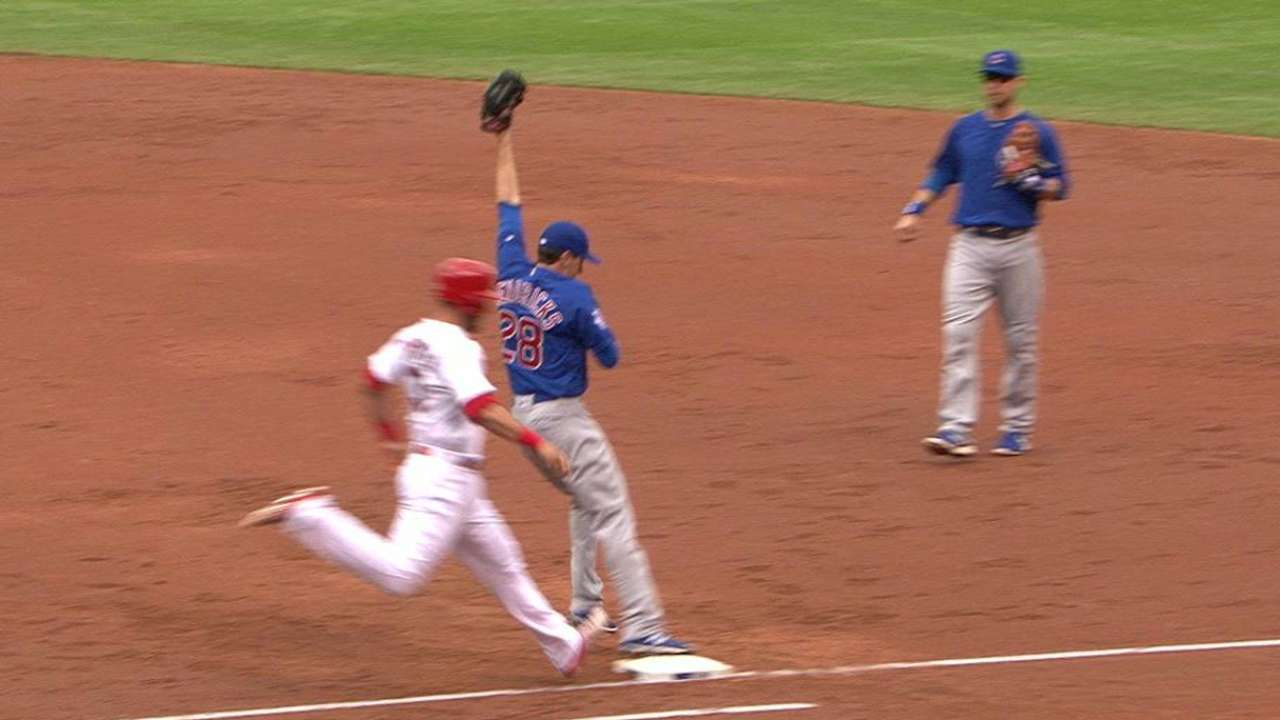 Cubs get double play on review