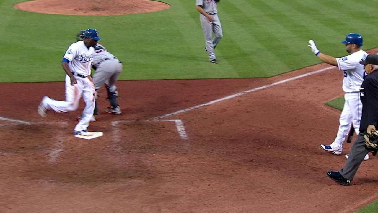 Cain steals and scores on error