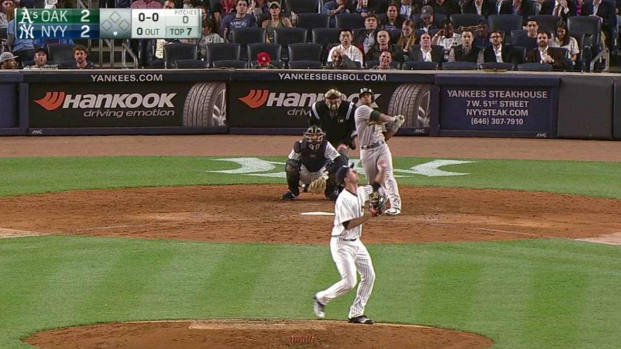 Atléticos doblegan a Yankees detrás de Davis, Crisp