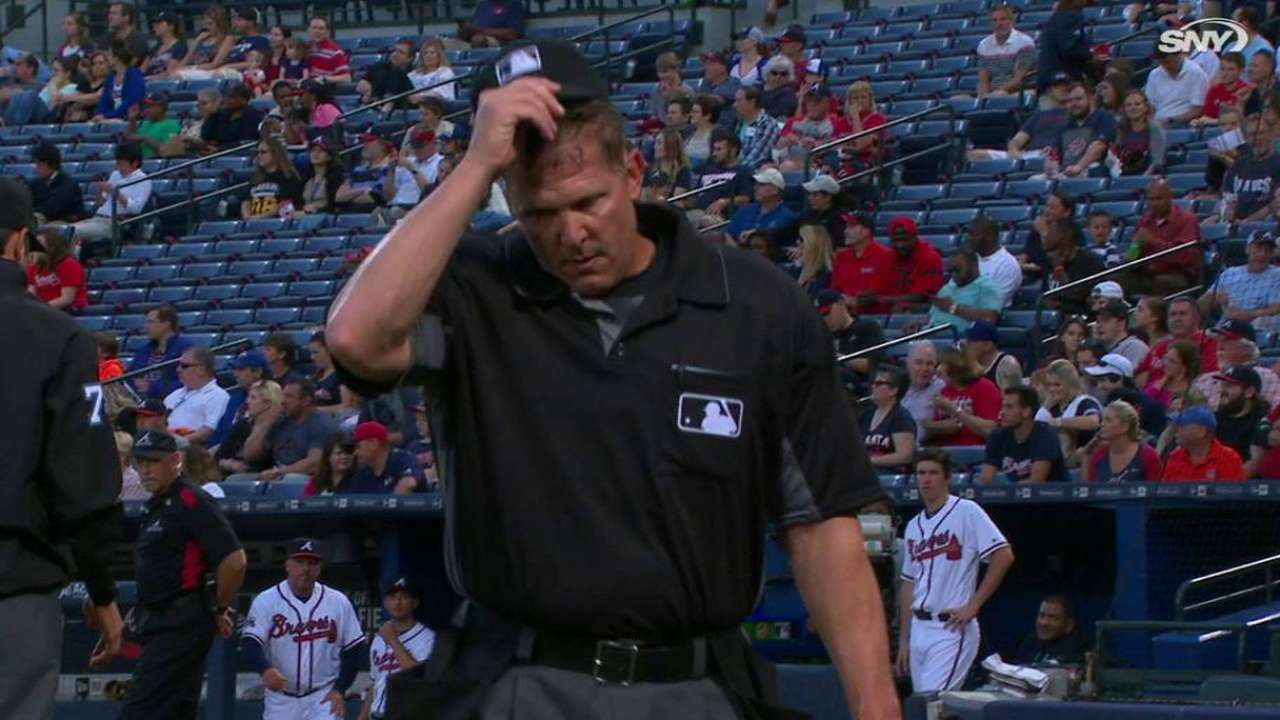 Home plate umpire leaves game