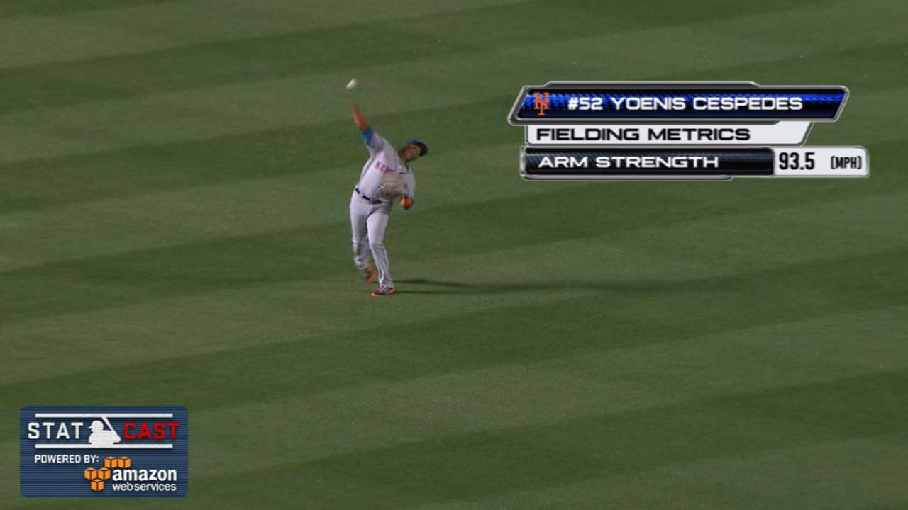 Cespedes shows off cannon, nabs runner at plate