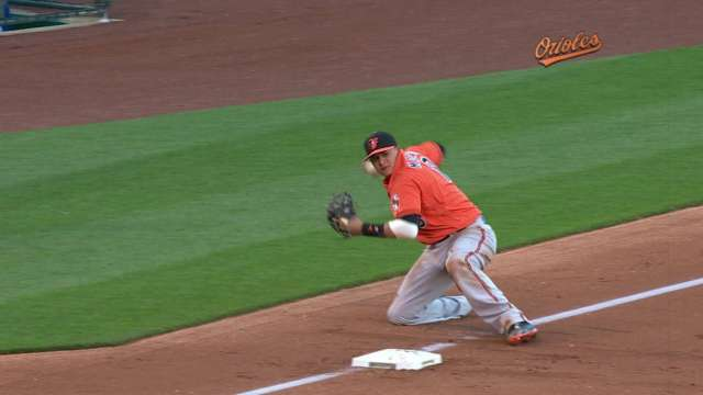 manny machado fires laser to first from his knees