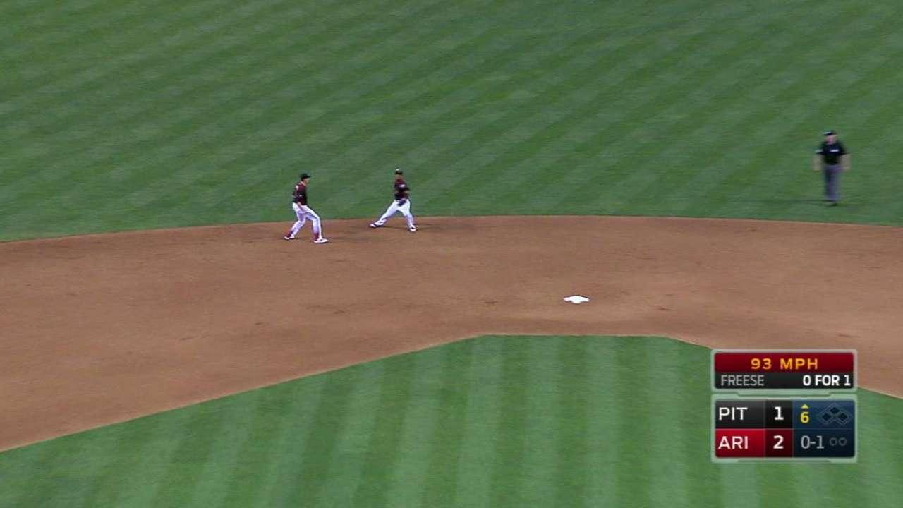 Segura throws out Freese