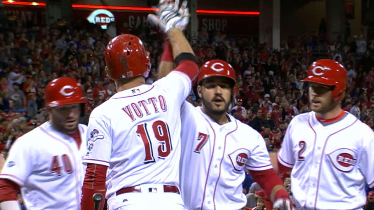 Four HRs, 7-run 6th power Reds past Cubs