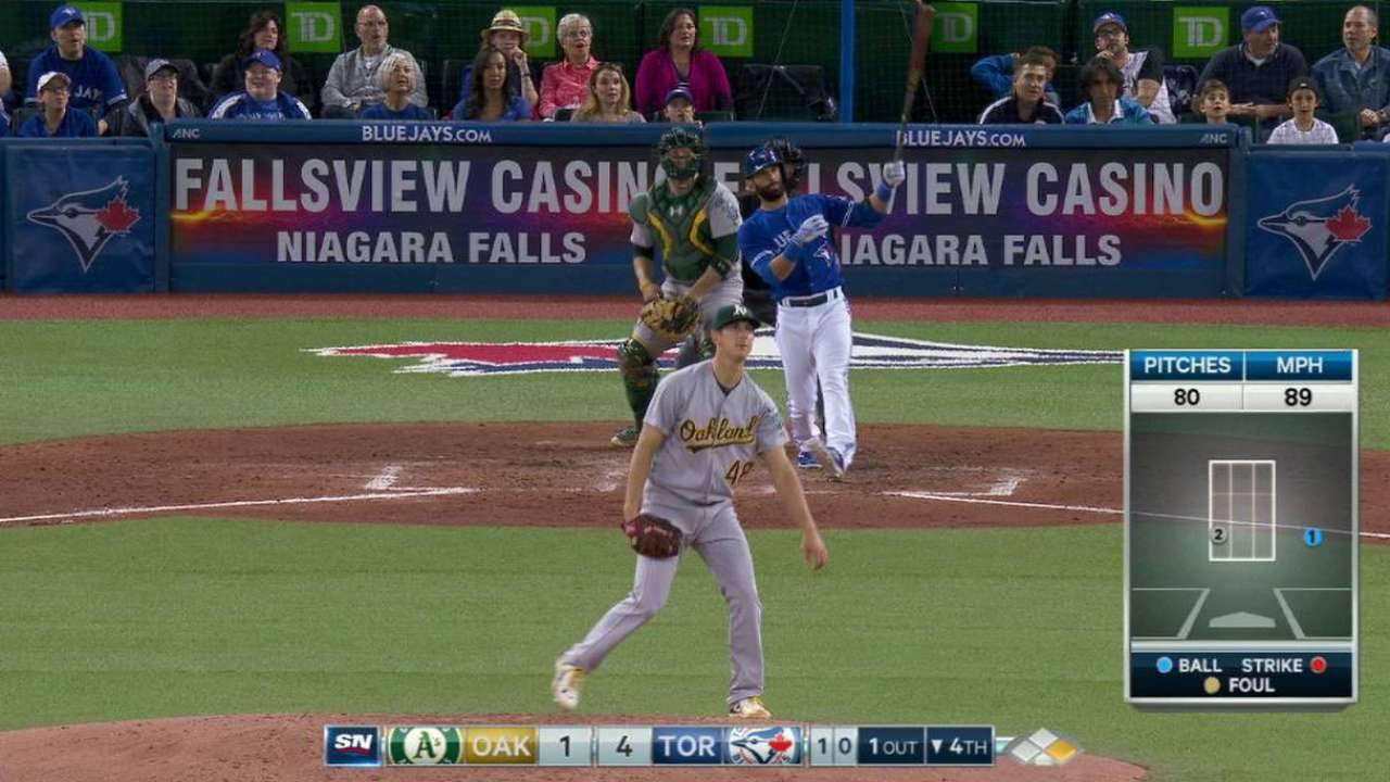 Hutchison wins debut vs. A's; Bautista homers