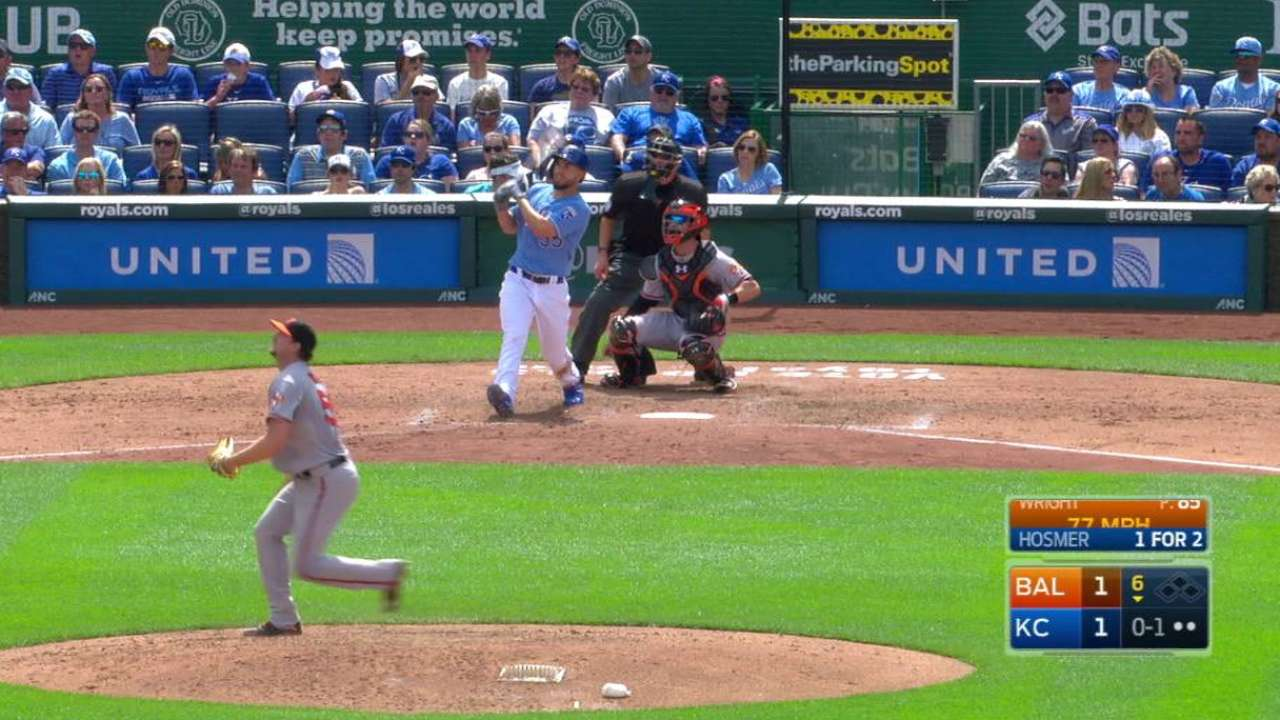 Hosmer lines a shot to right
