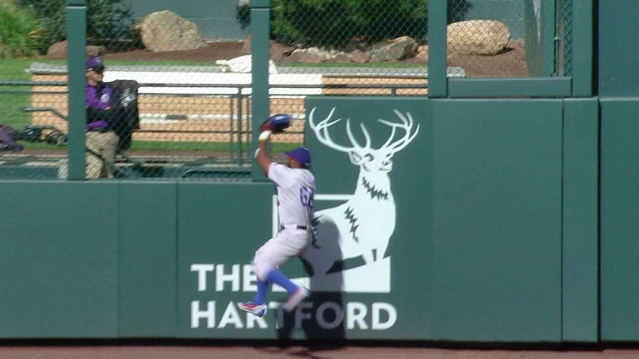 Wall-banger: Puig's catch robs Rox of runs