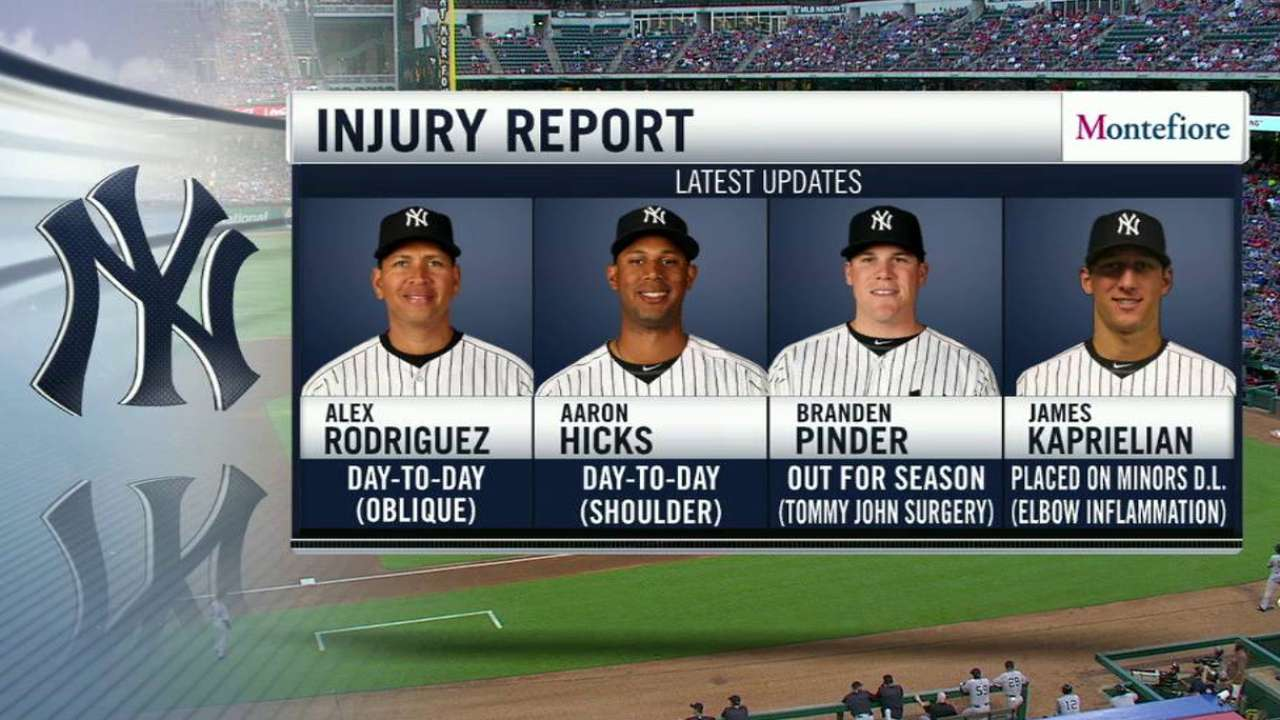 Neither A-Rod, Hicks expected to hit DL