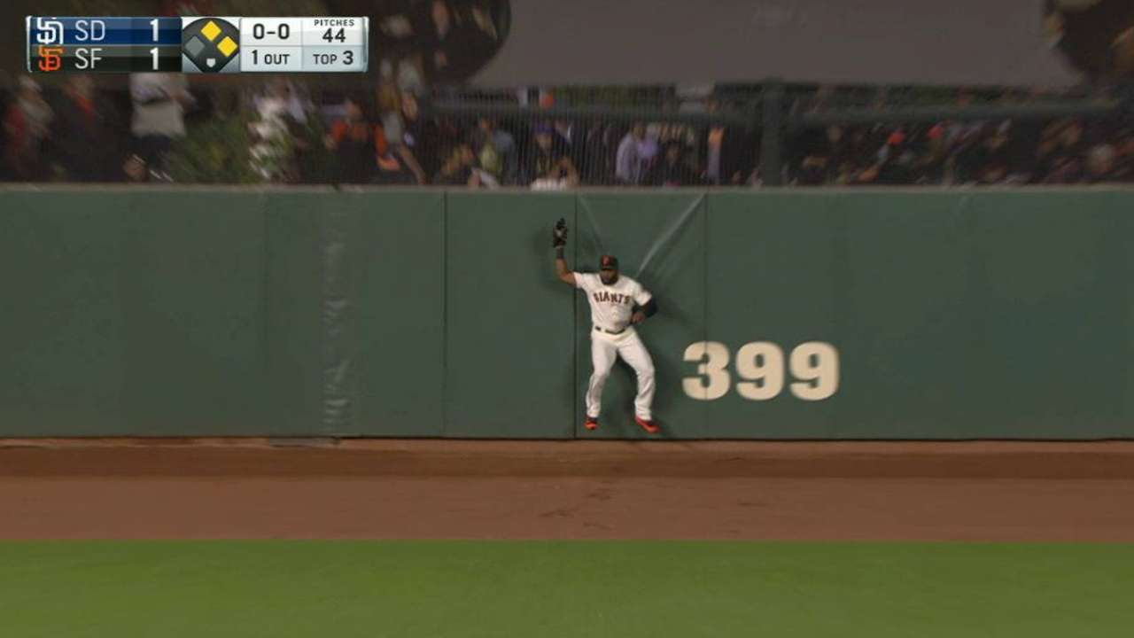 Span's nice leaping catch