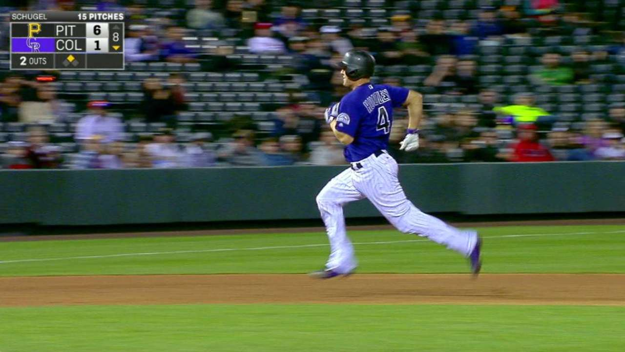 Hundley triples to right field