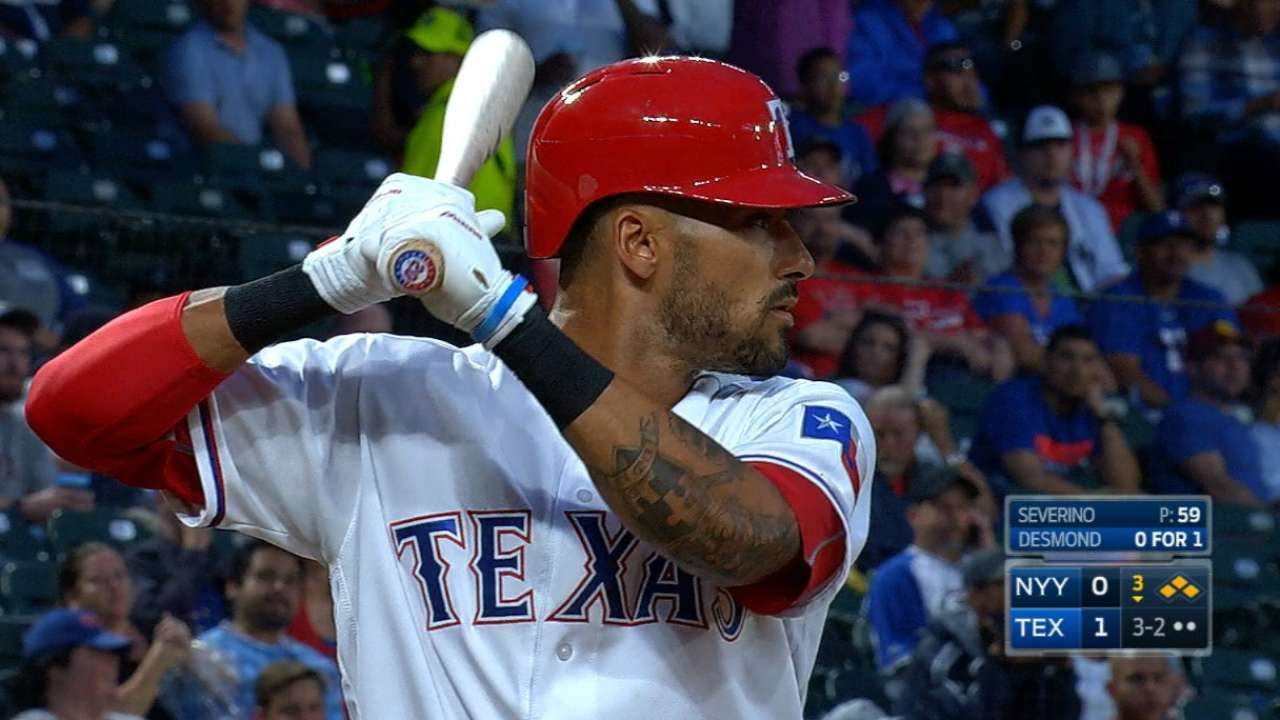 Rangers' five-run inning