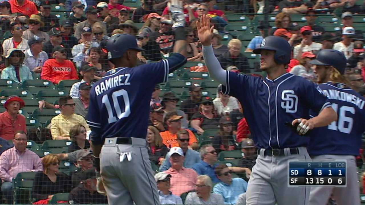 Myers pushes hit streak to 12 with long ball