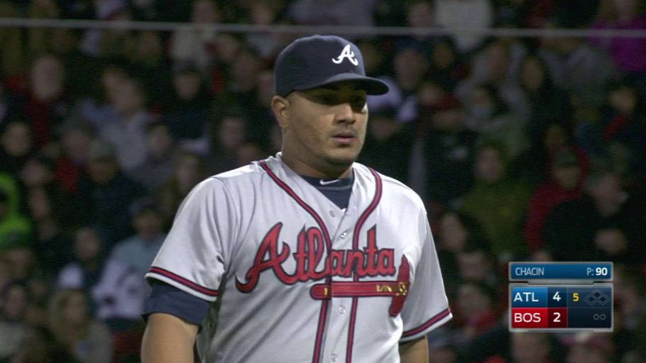 Braves trade Chacin to Angels for lefty prospect