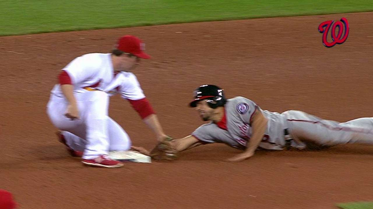 Play at second overturned