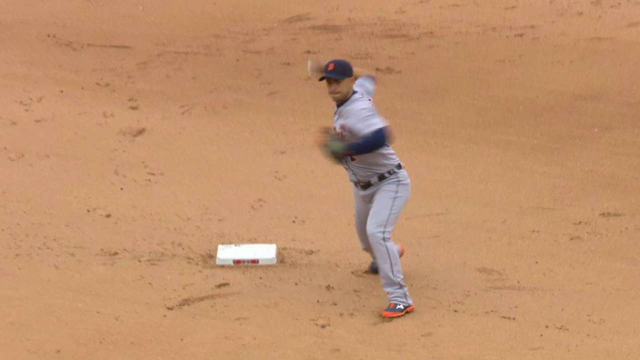 Kinsler starts a double play
