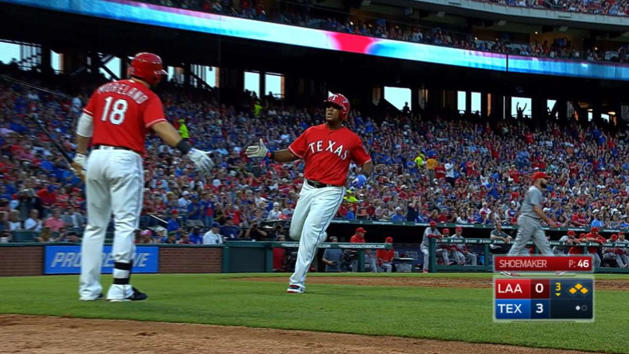 Rangers rout Angels with six-run third inning