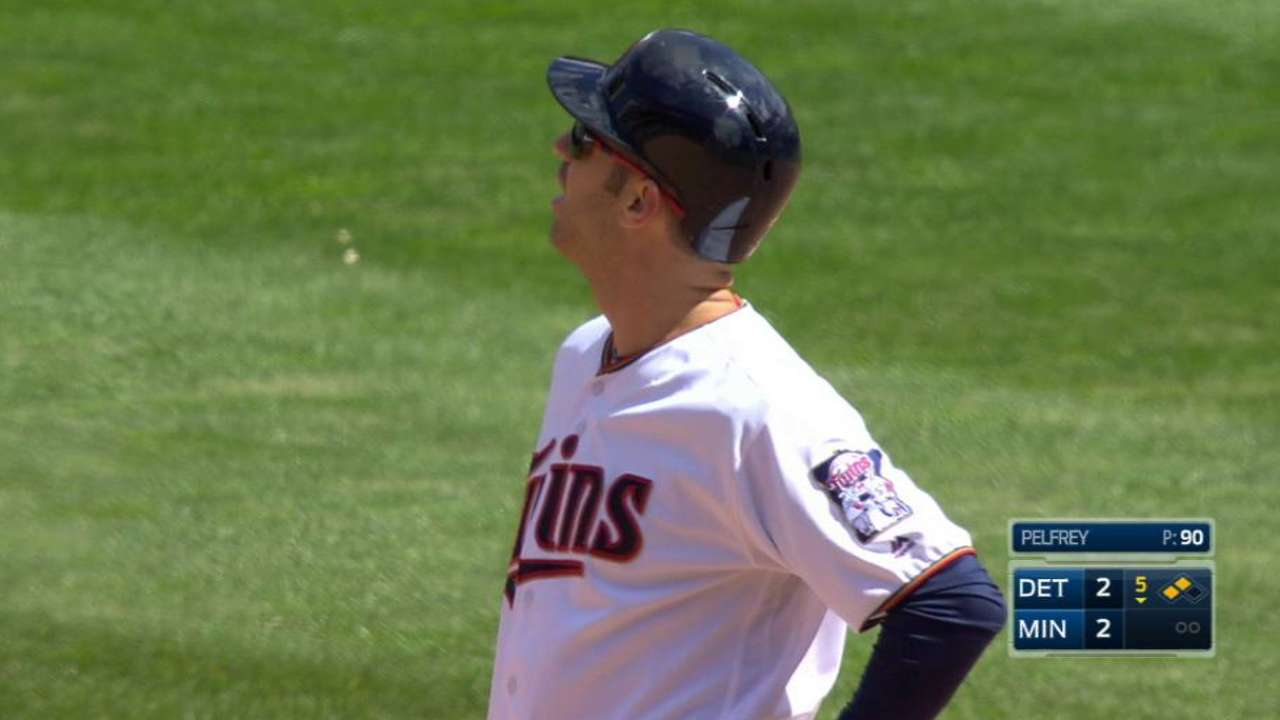 Umpires review Mauer double