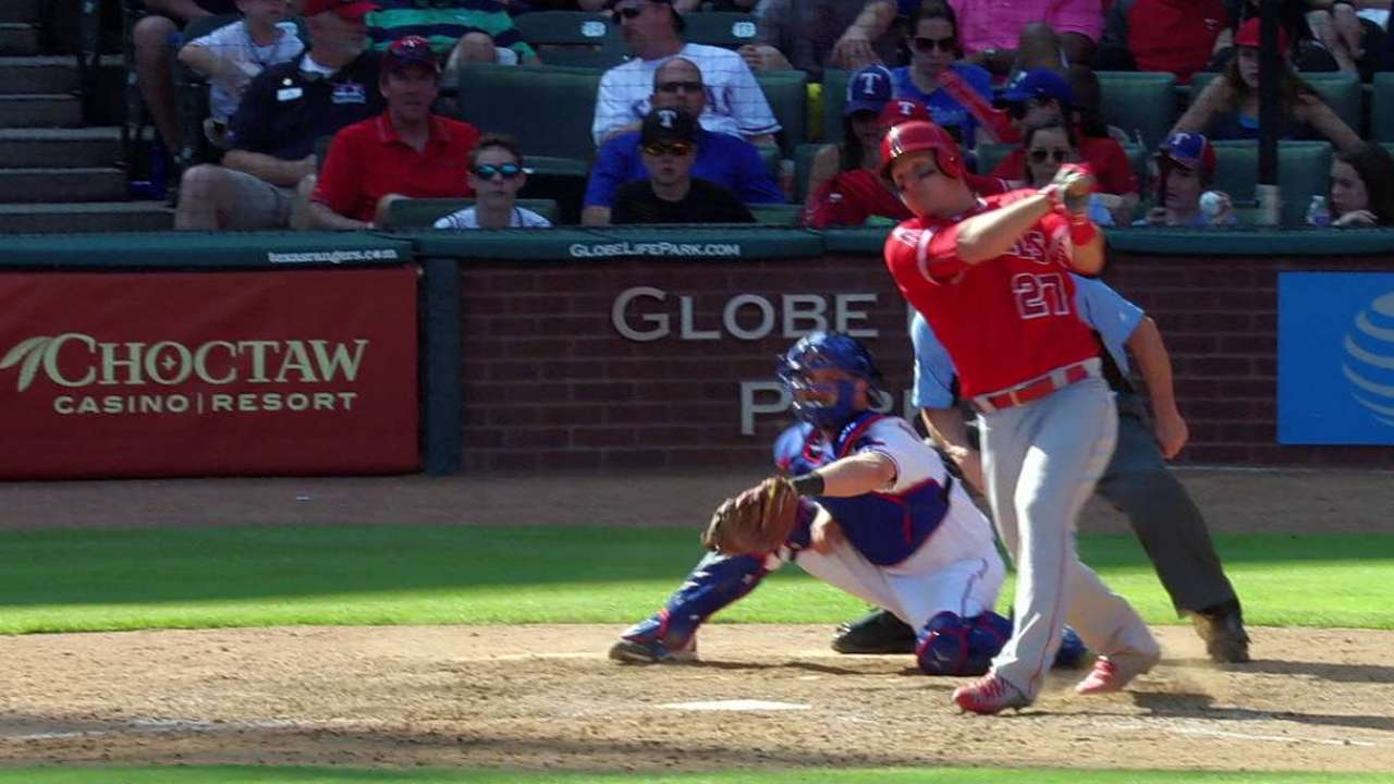 Trout's RBI double off the wall