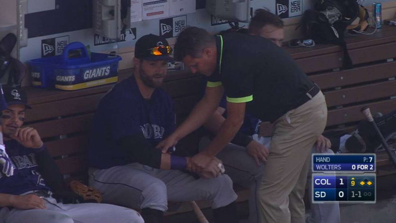 Paulsen gets hit in the dugout