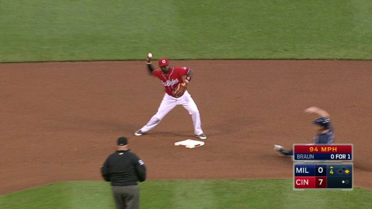 Reds' inning-ending double play