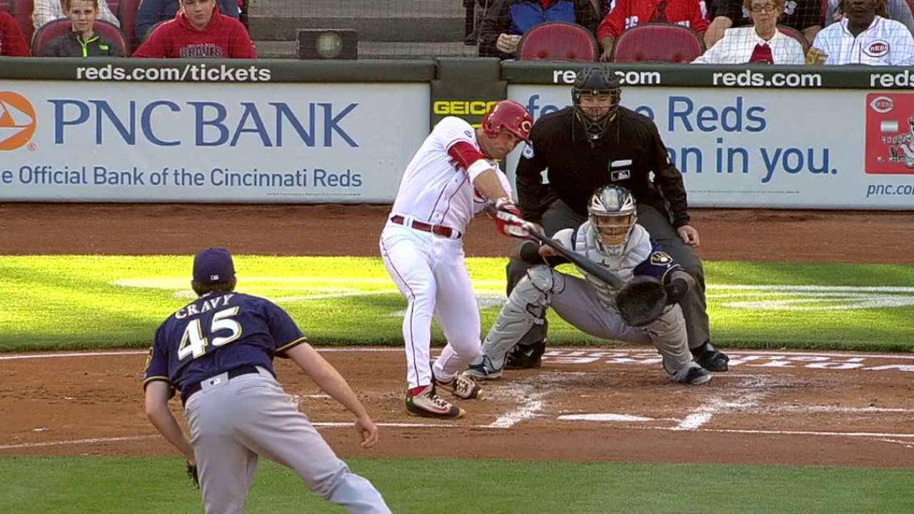Votto, BP back Adleman in first victory