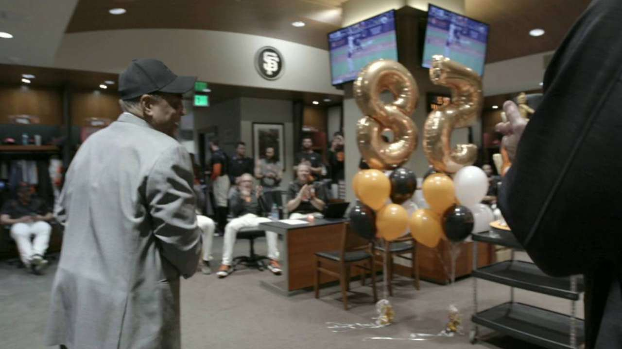 Giants celebrate in clubhouse