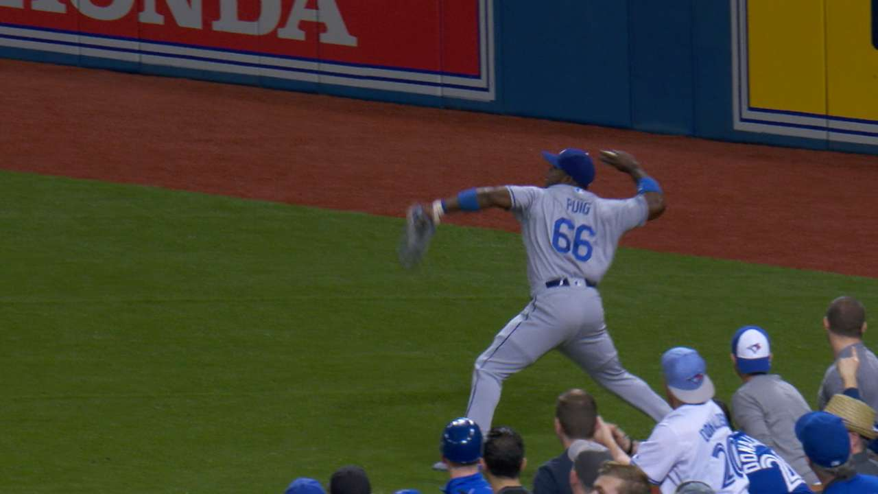 Puig nails Barney at second with perfect throw