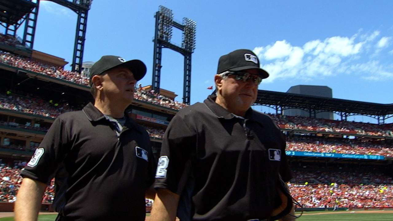 Ump gets hit, later leaves game