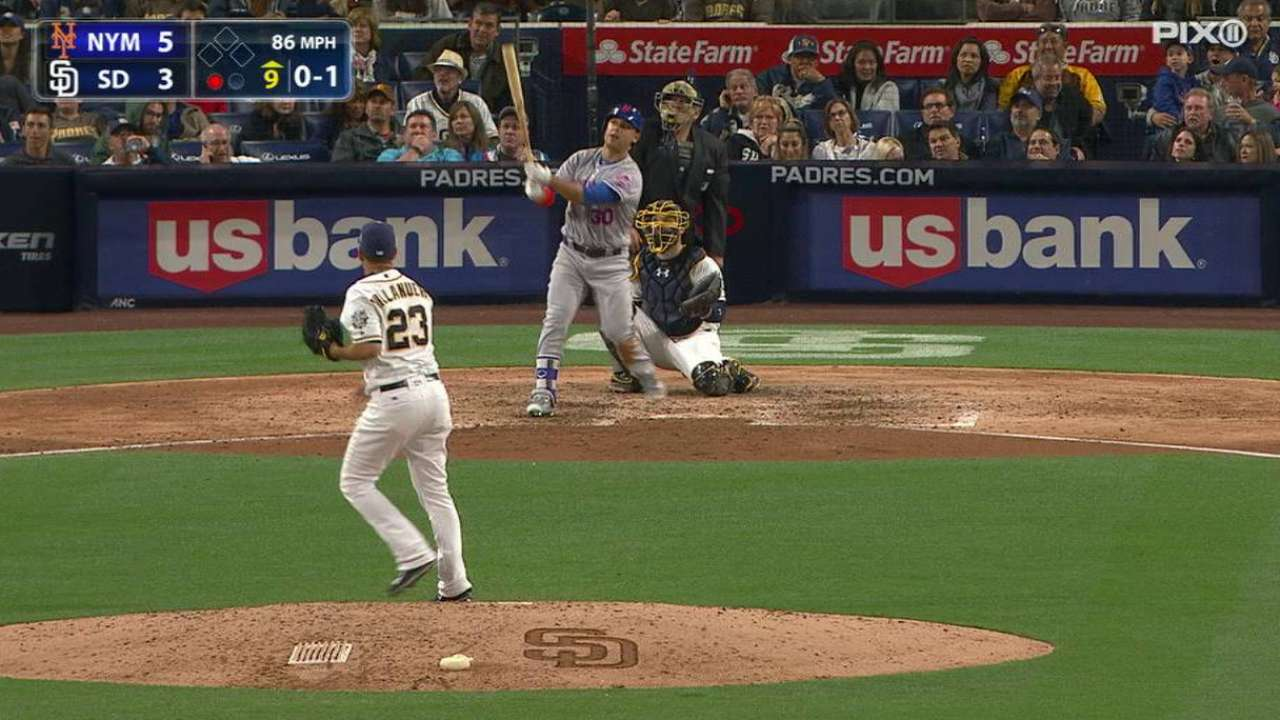 Conforto homers to right